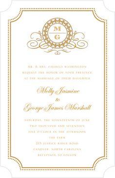 The 5 wedding menu rules every couple should follow wedding menu fine monogram thermography wedding invitations jenny romanski white front stopboris Images