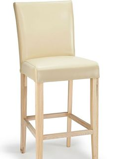Deule Kitchen Bar Wooden Stool Cream Real Leather Seat, Light Oak Frame