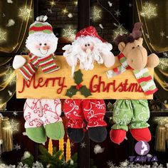 Christmas Decorations Welcome Snowman Santa Claus Door Hanging Party Ornaments #Unbranded