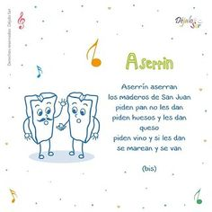 *Letras de Canciones infantiles. - EduInf35 Spanish Lessons For Kids, Preschool Spanish, Preschool Songs, Spanish Activities, Teaching Spanish, Baby Songs, Kids Songs, Nursery Ryhmes, Baby Language