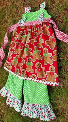 CHRISTMAS dress girls santa outfit dress gingerbread knot dress baby clothes baby girl red green holiday dress on Etsy, $42.00