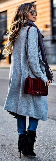 #winter #fashion /  Grey Coat + Burgundy Velvet Shoulder Bag