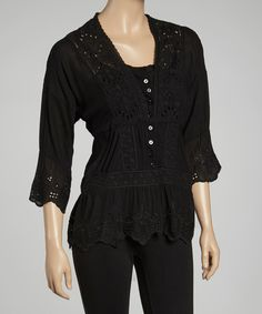Take a look at this Como No? by Biz Black Embroidered Layered Top on zulily today!