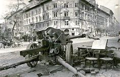 An abandoned German cm leFH light howitzer on the streets of Budapest after the Siege of Budapest December, 1944 – 13 February, Luftwaffe, Hungary History, Ww2 Photos, Images Photos, Total War, German Army, Budapest Hungary, Military History, World War Two