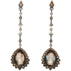 Sevan Biçakçi Women's Arabesque Drop Earrings (€23.585) ❤ liked on Polyvore featuring jewelry, earrings, ivory, teardrop earrings, pave earrings, drop earrings, round earrings and pave jewelry