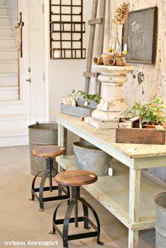 Galvanized metal, rustic white  http://urbanfarmgirlandco.blogspot.com/2012/03/city-farmhouse.html