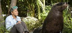 Nim's Gallery - Return to Nim's Island: Bindi Irwin and Friday the sea lion.