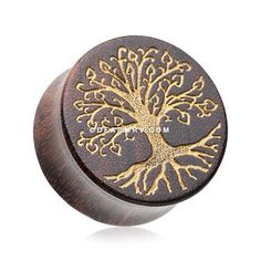 A Pair of Golden Tree of Life Tamarind Wood Ear Gauge Plug