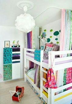 Girls Bedroom With Bunk Beds lights under the bunk bedwall paintthat bookshelfso much