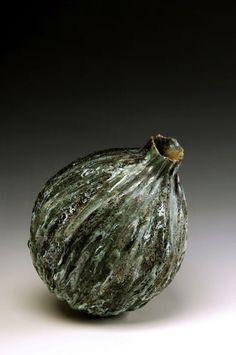 Aki Moriuchi ceramics. Big Stone Seed, 2006, 35cm H, wheel thrown and altered, photo by Robert Jewell