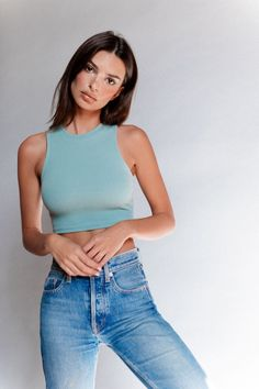 The perfect crop tank. Pairs with well, just about anything. Made in our double stretch rib, locally made. Emily Ratajkowski Outfits, Summer Outfits, Girl Outfits, Twin Outfits, French Girl Style, Dress With Sneakers, Jeans, Blond, Street Style