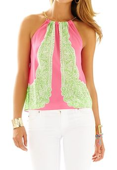 Lilly Pulitzer Riviera Halter Top in Hotty Pink Day Breakers Engineered