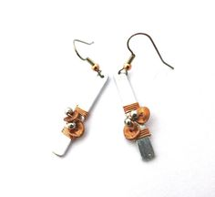 Asymmetric flower copper aluminum earrings hammered door deBATjes