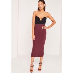 Missguided Crepe Midi Pencil Skirt ($17) ❤ liked on Polyvore featuring skirts, burgundy, knee length pencil skirt, calf length skirts, elastic skirt, calf length pencil skirt and mid calf skirts