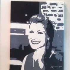 """Celeste"" Custom hand painted 14""x18"" black & white acrylic portait by renowned artist Mike Latiolais on stretched canvas. www.ArtByLatiolais.com"