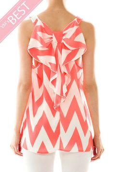 Bow Back Sleeveless Chevron Top in Coral- Andreas Boutique