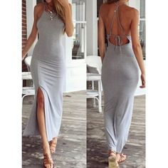 Sexy Square Neck Sleeveless Backless Furcal Women's Dress
