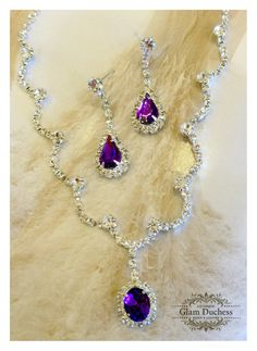 Wedding jewelry set ,bridesmaid jewelry set, Bridal necklace earrings, vintage inspired rhinestone jewelry set, purple crystal jewelry se