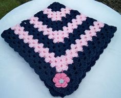 Hand Knitted/ Crocheted Aran Baby Blanket Navy and Pink New 28 inch square