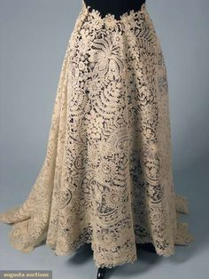 Deconstructed Brussels Lace Skirt c. 1900 - would be stunning overlaid on a simple silk gown!