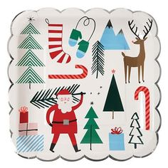 A set of colorful party plates with Christmas illustrations and scallop edge with shiny silver foil border. Pack contains 8 plates.Plate size: 10 x 10 inches.