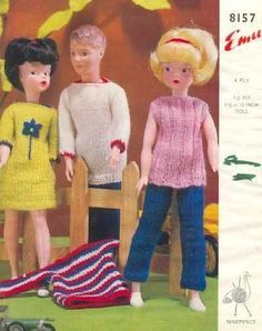 Doll Knitting Pattern Clothes for Teenage Doll Vintage. Trousers and Jacket Doll Knitting Pattern Doll's outfit patterns including poncho, bikini and french berets, striped top and trousers. Vintage knitting patterns for coats. Diy Ken Doll Clothes, Sewing Barbie Clothes, Knitting Dolls Clothes, Barbie Clothes Patterns, Crochet Doll Clothes, Knitted Dolls, Barbie Knitting Patterns, Doll Patterns, Sewing Patterns