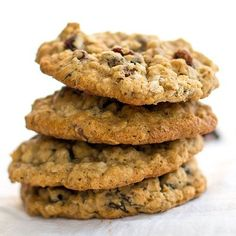 Chewy oatmeal raisin cookies with pecans. #desserts #cookies