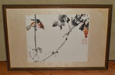 Bird Ink & Watercolor Chinese or Japanese Original Signed Art Work Framed by AcquiredAntiqueCo on Etsy