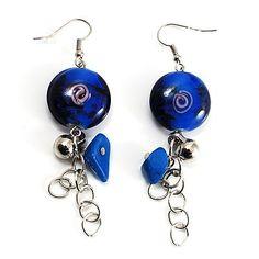 Navy Blue Glass Bead Drop Earrings (Silver Tone)