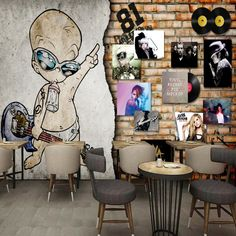 13.52$  Buy now - http://alix5f.shopchina.info/1/go.php?t=32788181939 - European Retro Rock Music Album Brick Wall Bar Backdrop night club decoration bedroom living room studio wallpaper mural  #magazineonline