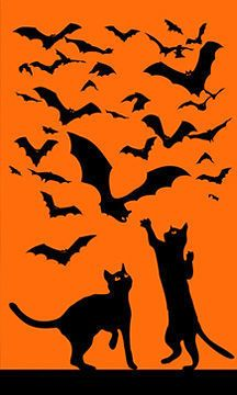 Cats and Bats Silhouette