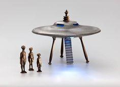 Nelles  Scott Nelles Studios : Flying Saucer, Cast Bronze and Aluminum With Alien Figures. $250.00, via Etsy.