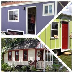 """The other tiny home that resides full time in the park is that of Dorian Acito's. Dorian's single story, bright purple Tiny Home was built by Maximus Extreme and is parked right next door to Emily's. Dorian met Emily in the Florida Tiny House Enthusiasts group and moved in to College Park Village this July. She is enjoying her mortgage free life."""