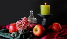 Still Life, Candle, Flowers, Decoration