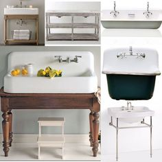If you're building a farmhouse or looking to remodel a bathroom, here are some fabulous farmhouse washstand options! Create a one of a kind look by retrofitting an antique table into a farmhouse sink vanity! I looooooove this washstand! Vintage inspired gorgeousness! The absolute BEST double sink vanity I have ever come across! The perfect combination of rustic and chic! Clean, classic perfection! I am just crazy about trough sinks! Perfect for a kids bathroom or a killer laundry room sink!