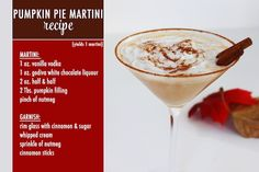 Thanksgiving Dessert Cocktail Recipe :: Pumpkin Pie Martini