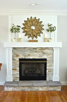 Fireplace makeover and mantel. DIY Fireplace makeover and mantel. - DIY Fireplace makeover and mantel. DIY Fireplace makeover and mantel. -DIY Fireplace makeover and mantel. DIY Fireplace makeover and mantel. Tv Over Fireplace, Fireplace Update, Brick Fireplace Makeover, Farmhouse Fireplace, Fireplace Hearth, Fireplace Remodel, Fireplace Surrounds, Fireplace Design, Fireplace Ideas