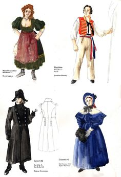 Les Mis | Several of the costumes designed by Alison Green for a (2009) production of Les Misérables at the Stanley Industrial Alliance Stage, Vancouver, British Columbia. Madame Thenardier. Enjolras. Javert. Cosette.