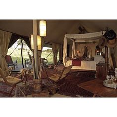 I want one of our next vacations to be to Africa for a safari. However, when I think of camping and a safari - this is what I think of - Luxury tent at Singita Sabora Tented Camp Shabby Chic Furniture, Shabby Chic Decor, British Colonial Decor, Campaign Furniture, Hotels, Out Of Africa, Chic Bathrooms, Interior Exterior, Interior Design
