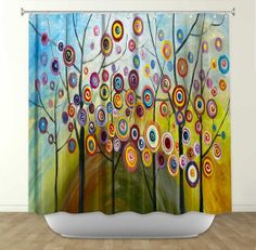 Artistic Shower Curtains by DiaNoche Designs, Abstract Blossom 2 on Etsy, $89.00