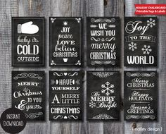 Printable Chalkboard Christmas Tags Instant by MarleyDesign, $5.00