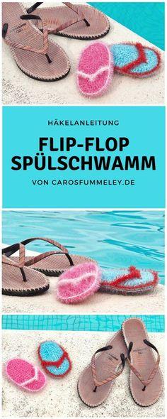 Häkelanleitung für DIY-Spülschwämme in Flip-Flop Form aus dem creative bubble Garn von rico Design. Perfektes DIY-Geschenk für Anfänger.