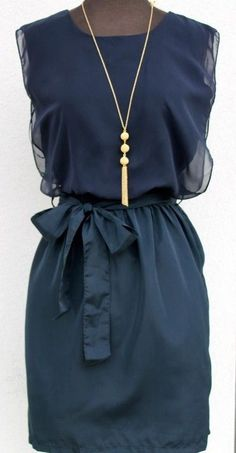 Navy Cocktail Dress... Love the Necklace <3