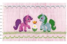Smocking plate with stacked design of ponies. If she loves My Little Pony, this is the plate for you. Plate is a yoke design with 11 rows of smocking.