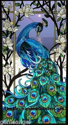 Majestic peacock * jewel of the garden magnolias stained glass window panel - Cool Glass Art Designs Faux Stained Glass, Stained Glass Designs, Stained Glass Projects, Stained Glass Windows, Painting On Glass Windows, Leaded Glass, Stained Glass Tattoo, Stained Glass Patterns Free, Stained Glass Quilt