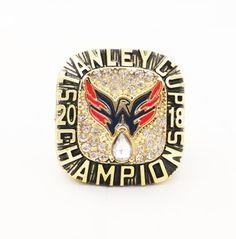 Celebrate your favorite team with the Washington Capitals NHL championship rings. This ring will make anyone jealous and shows the true team spirit of any fan so give yourself and others the gift of a lifetime. Washington Capitals Stanley Cup, Washington Capitals Hockey, Stanley Cup Rings, Alexander Ovechkin, Ice Cup, Stainless Steel Alloy, Ring Of Honor, Championship Rings, Fitness Gifts