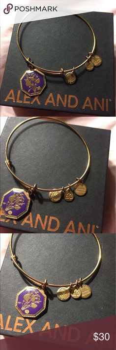 Bracelet Alex and Ani bracelet beautiful Violet flower and 3 more little charms. Used but in good condition , no box Alex & Ani Jewelry Bracelets