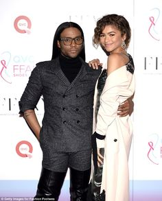 Partner in crime: Zendaya and her longtime friend and celebrity stylist Law Roach 'hate trends,' according to her Vogue interview. Here they are pictured at the end of October