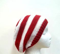 Red White Stripe Beanie Slouch hat knit size medium by CaboDesigns, $26.00
