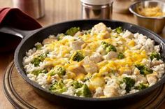Easy Chicken and Broccoli recipe - Grab a pan. It only takes one to whip up this dish of chicken, rice and broccoli—and to show the family how warm and comfy eating smart can be.